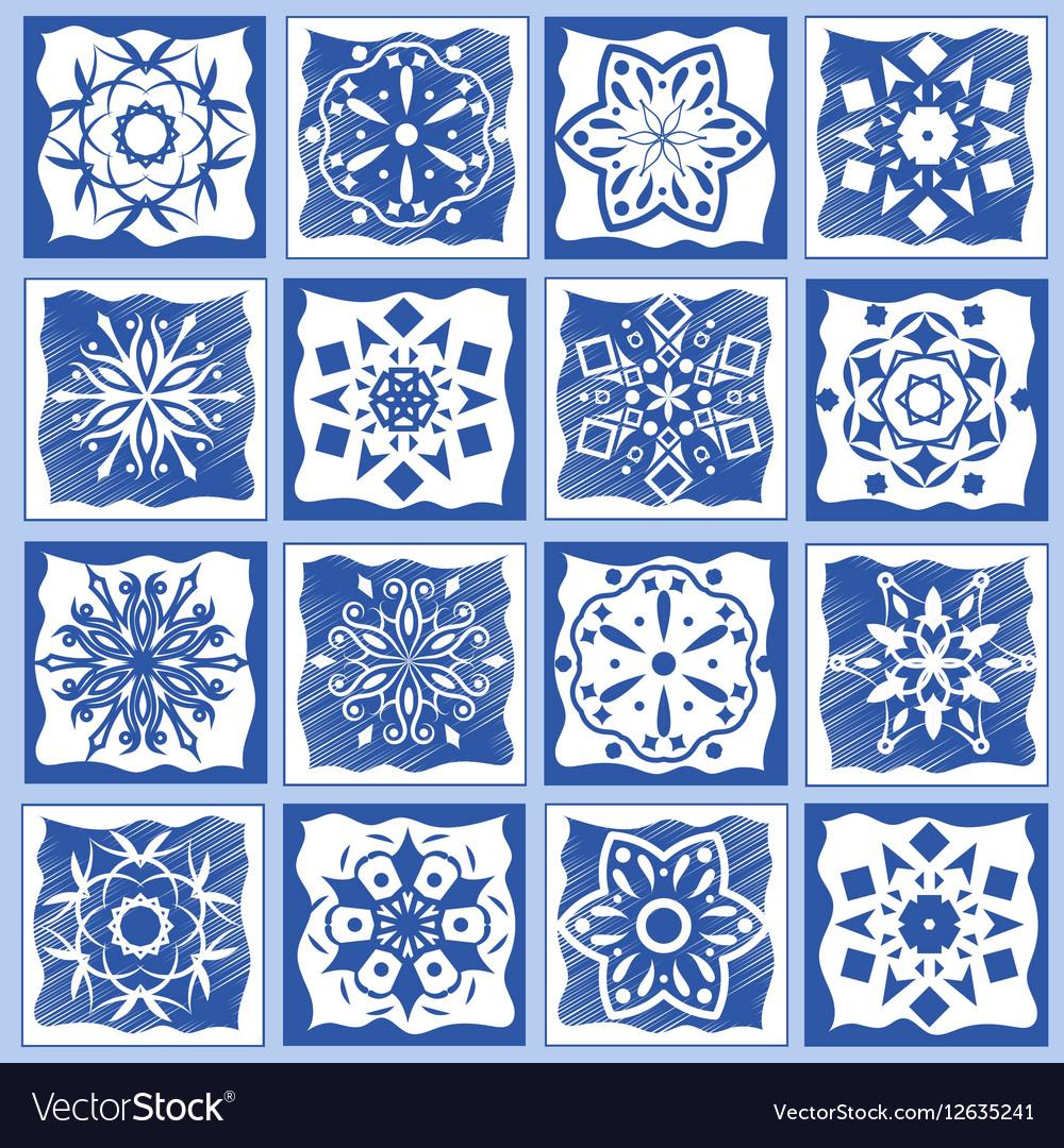 Vintage ceramic tiles Geometric floor design Vector Image