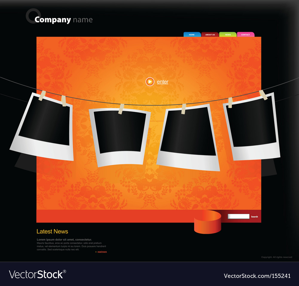 Website template with photos vector image