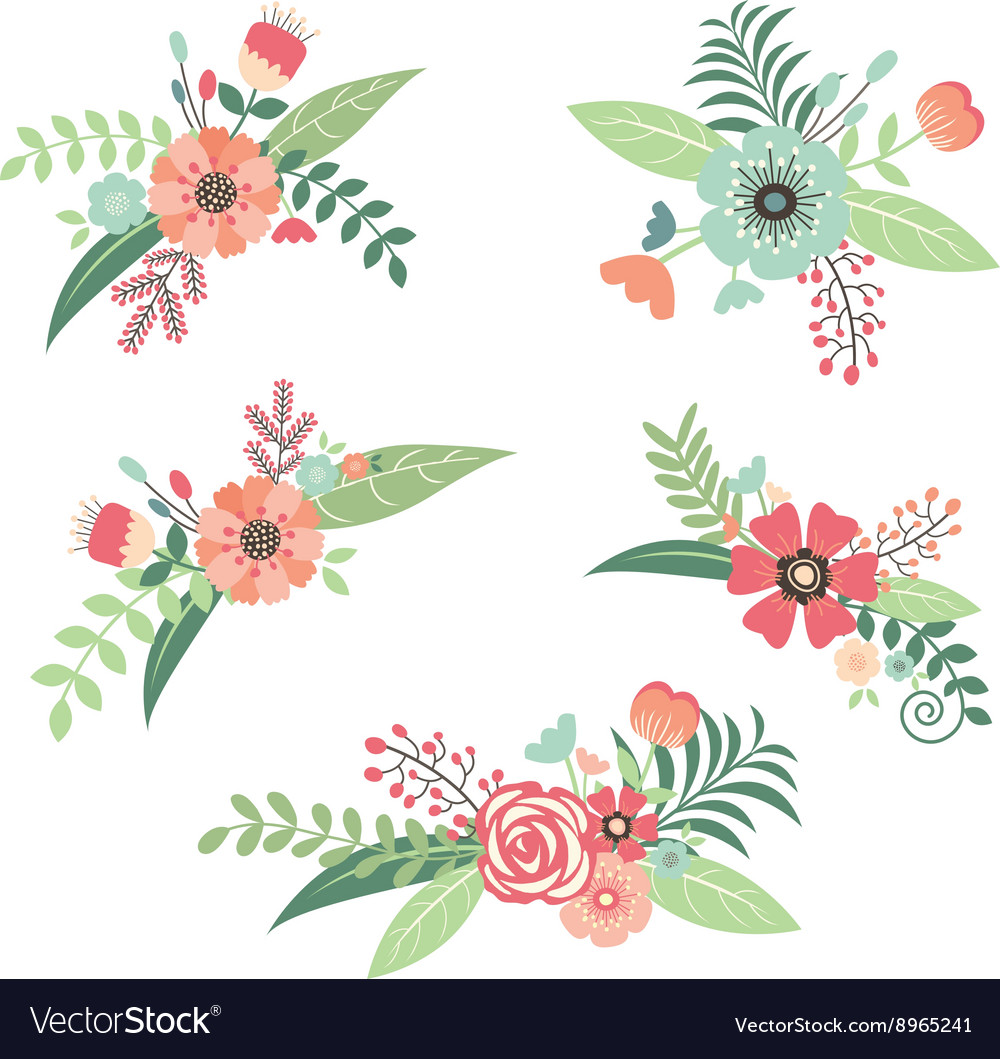Wedding Flower Bouquet Set vector image