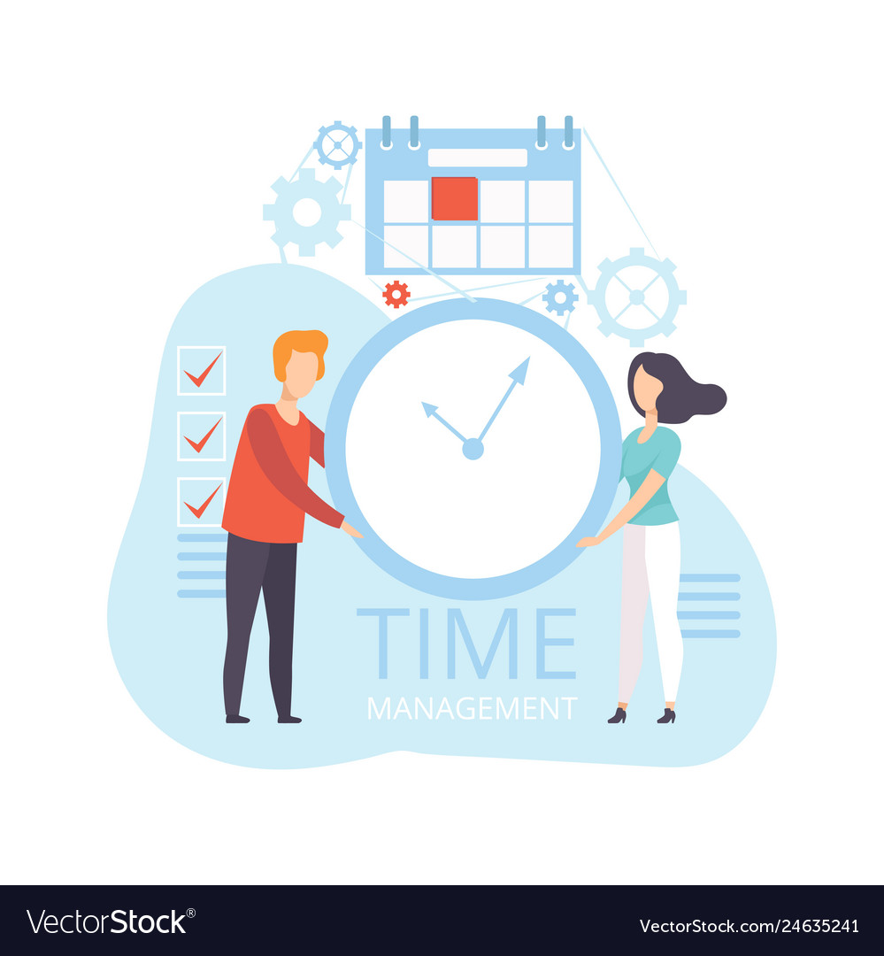 Young man and woman holding wall clock business
