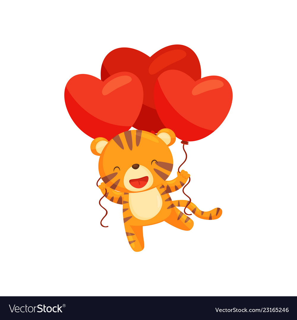 Adorable tiger with red heart-shaped balloons