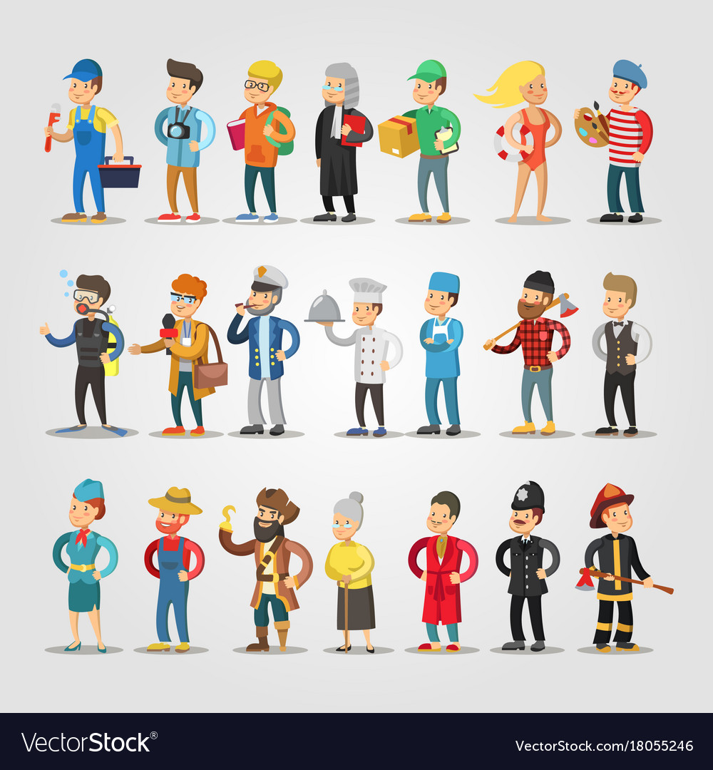 Cartoon people professions set with doctor vector image