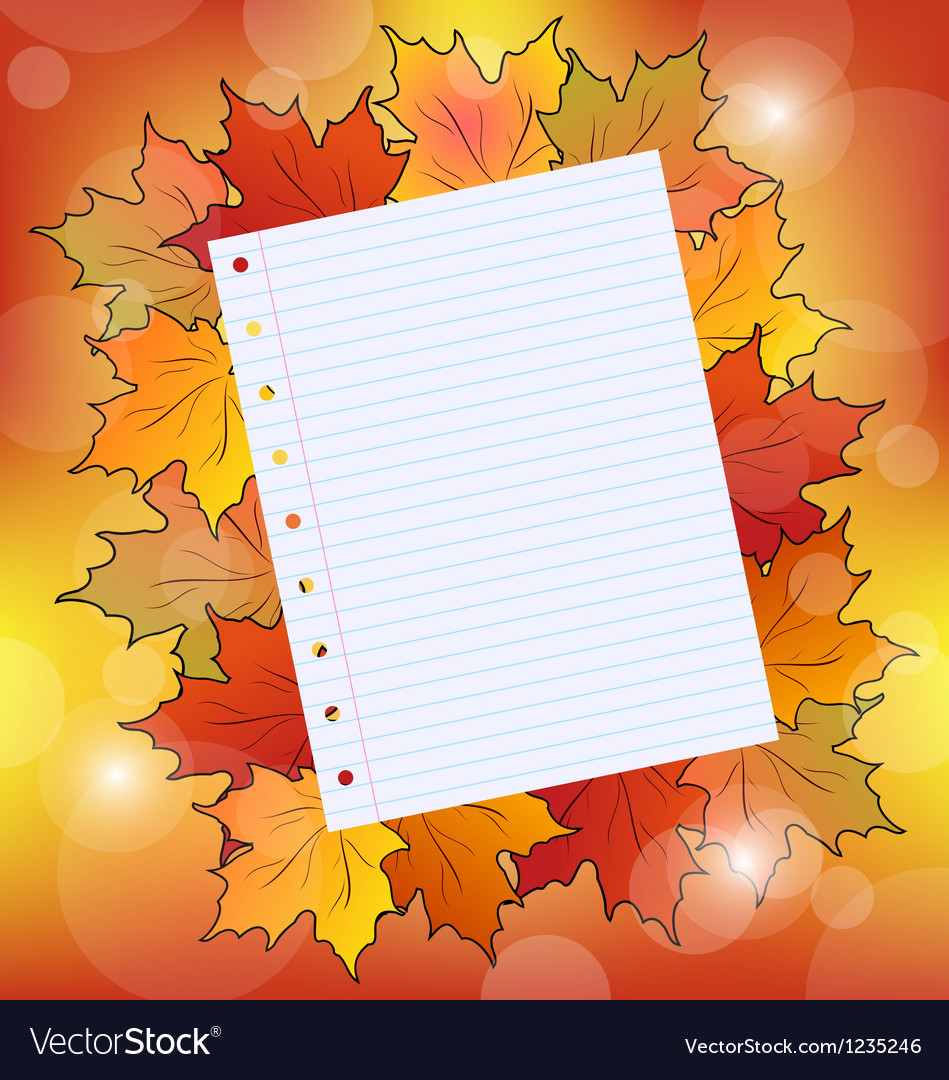 Colorful autumn maple leaves with note paper