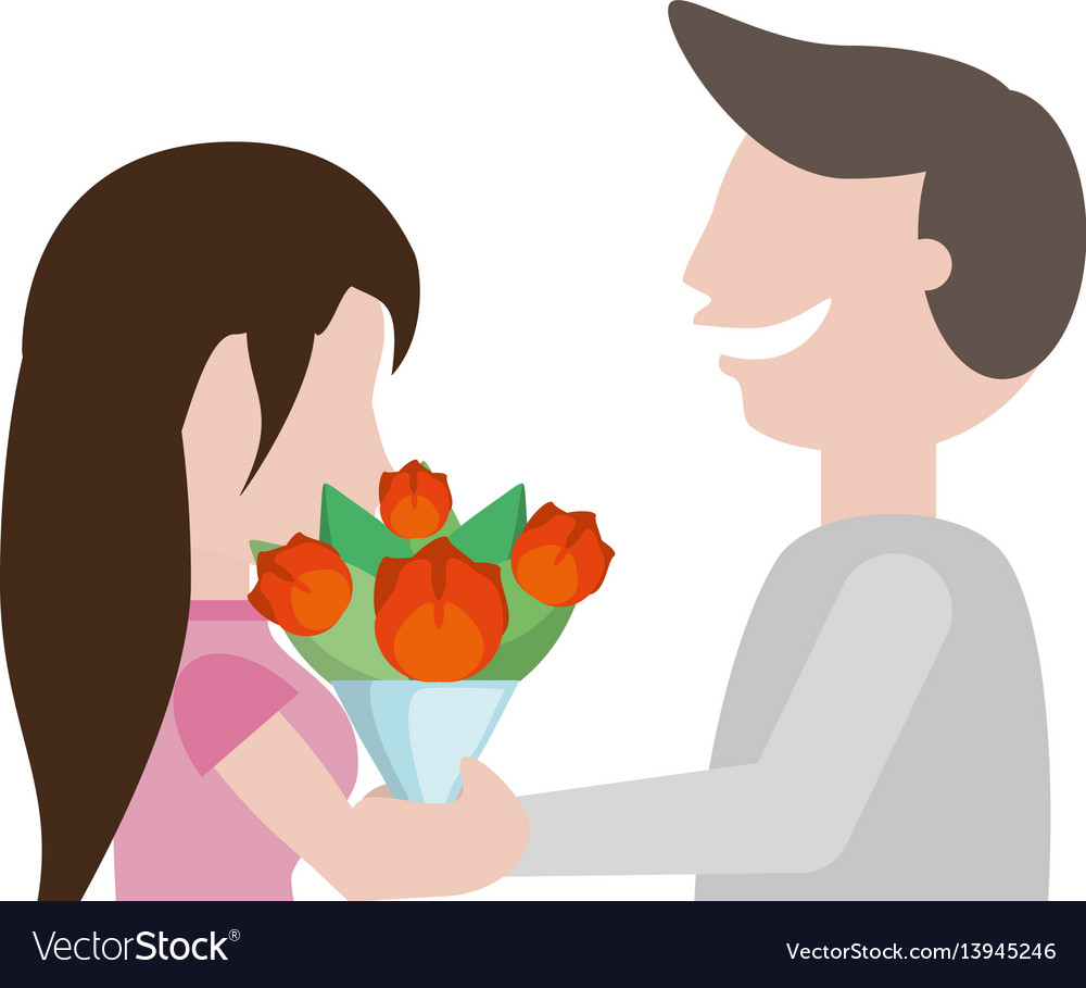 Couple cute flowers romantic image