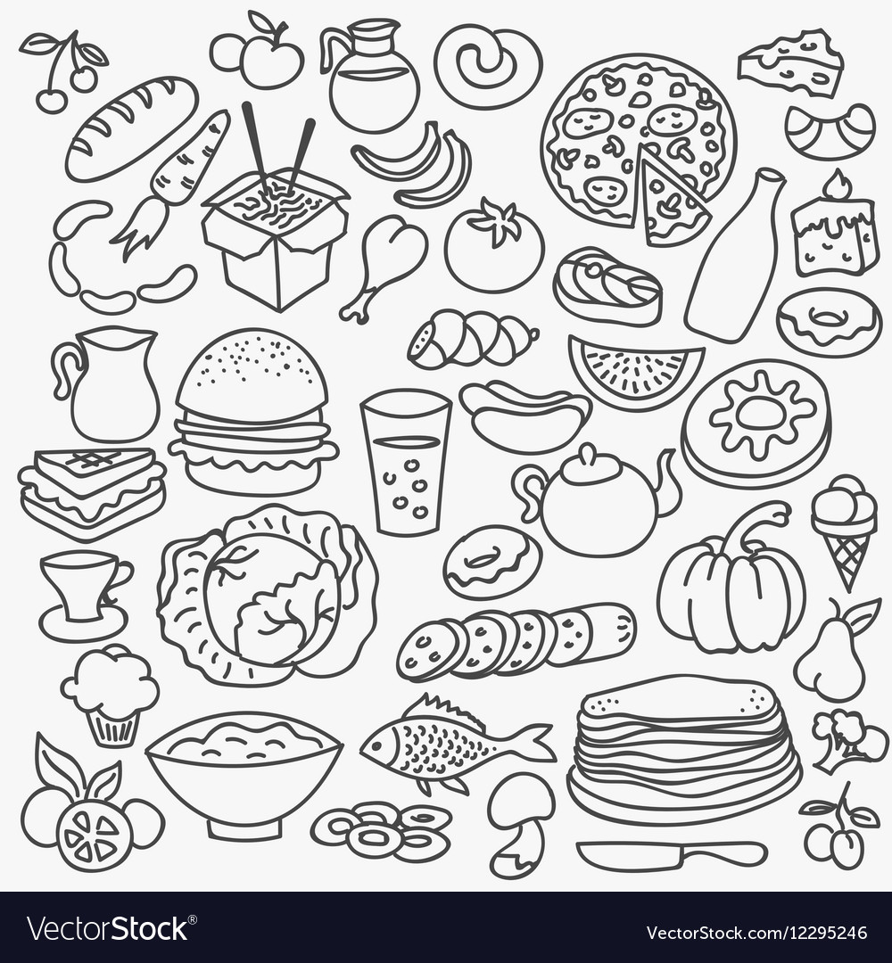 doodle food icons hand drawn set royalty free vector image Kawaii Food Drawings doodle food icons hand drawn set vector image