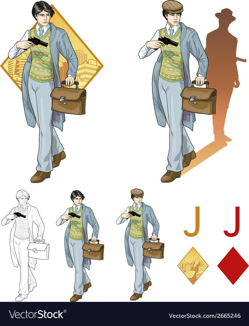 Jack of diamonds asian boy with a gun Mafia card
