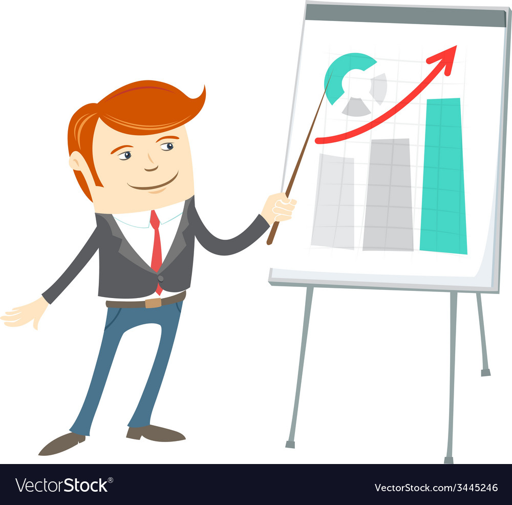 Office man presentating a graph on flipchart