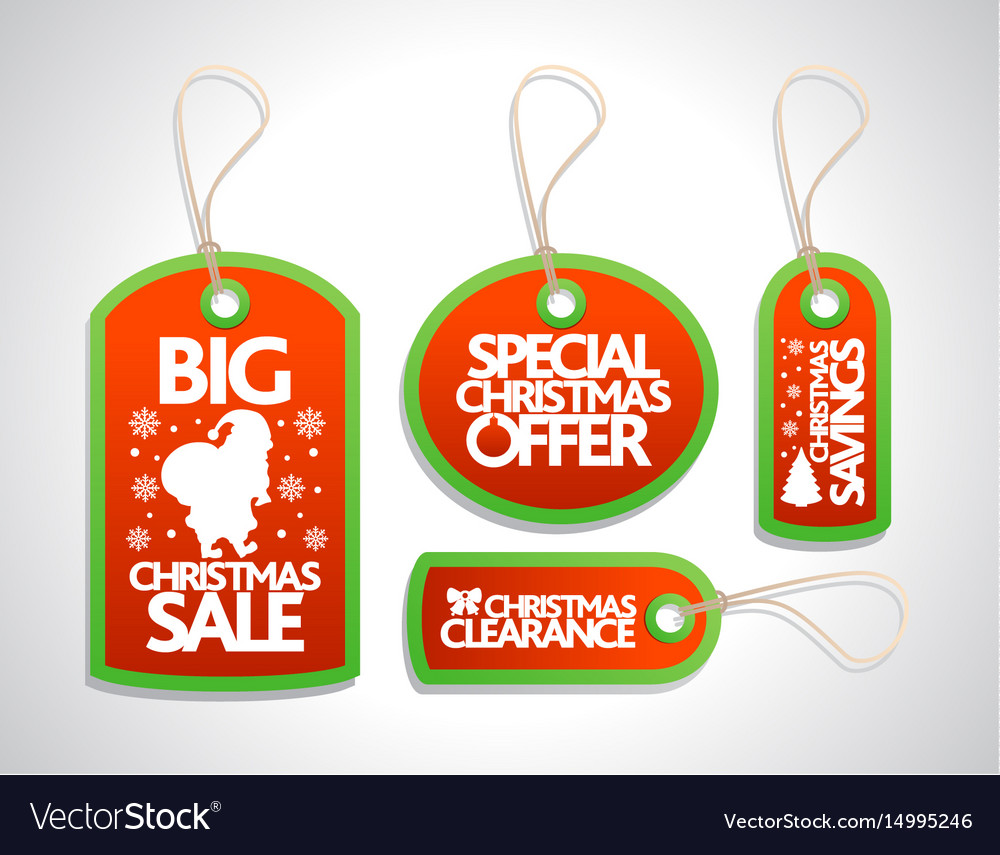 Sale christmas tags set red vector image