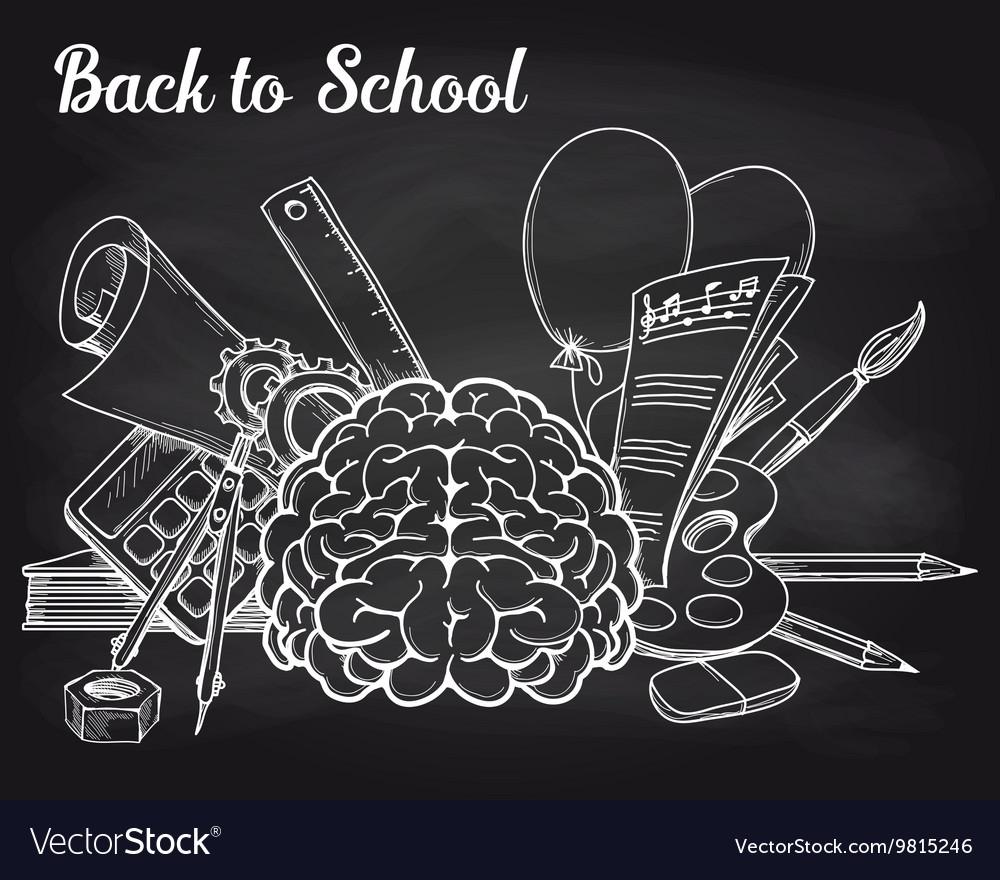 School objects on chalkboard