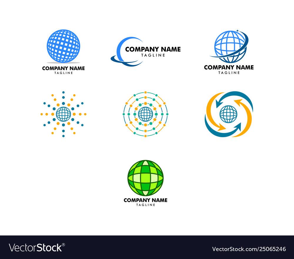 Set globe design logo template
