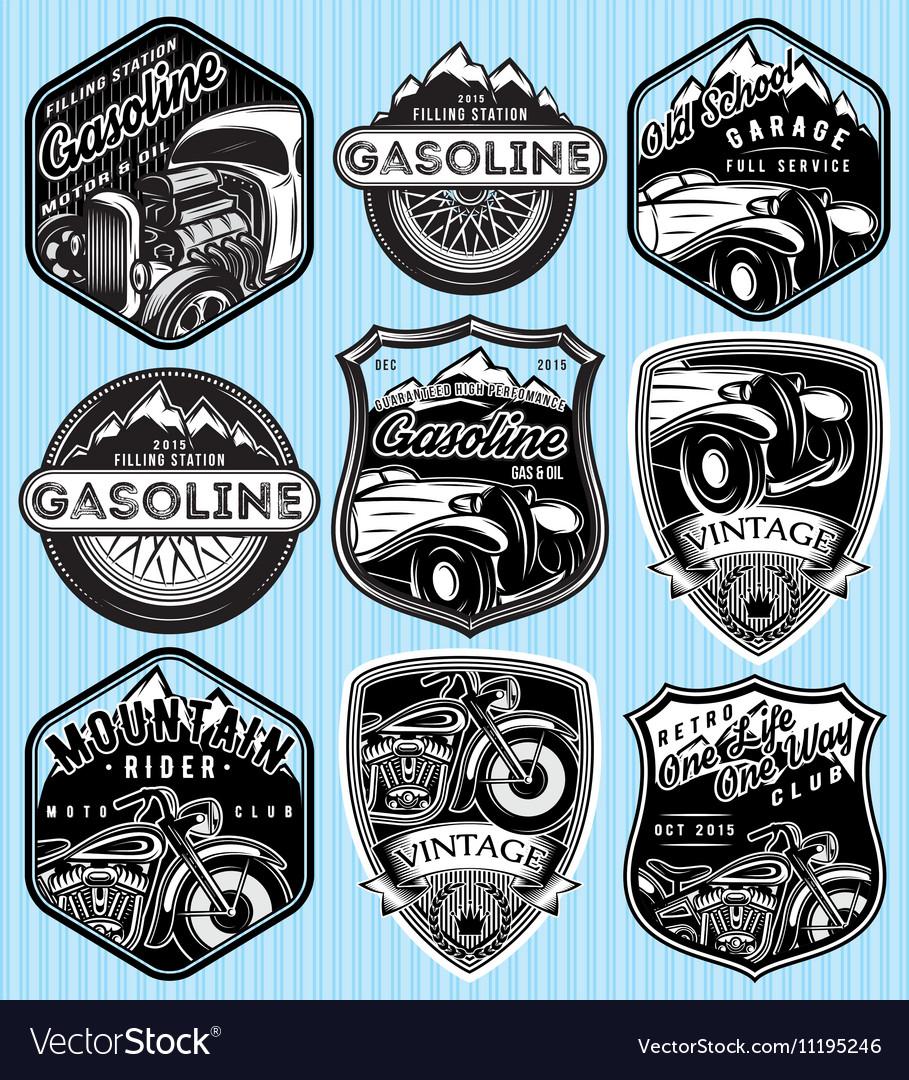 Set of badges for advertising gasoline vector image