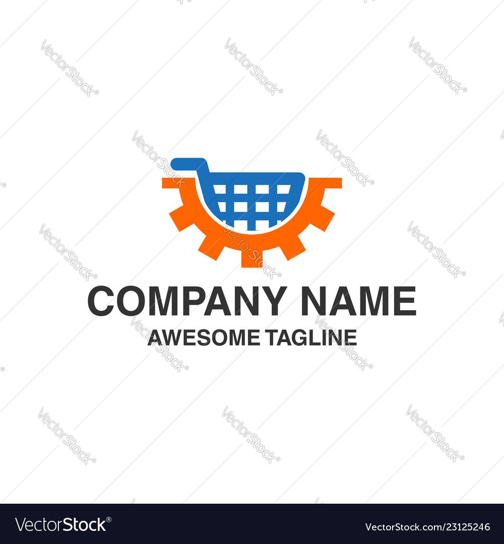 Shopping trolley with gear logo logo template