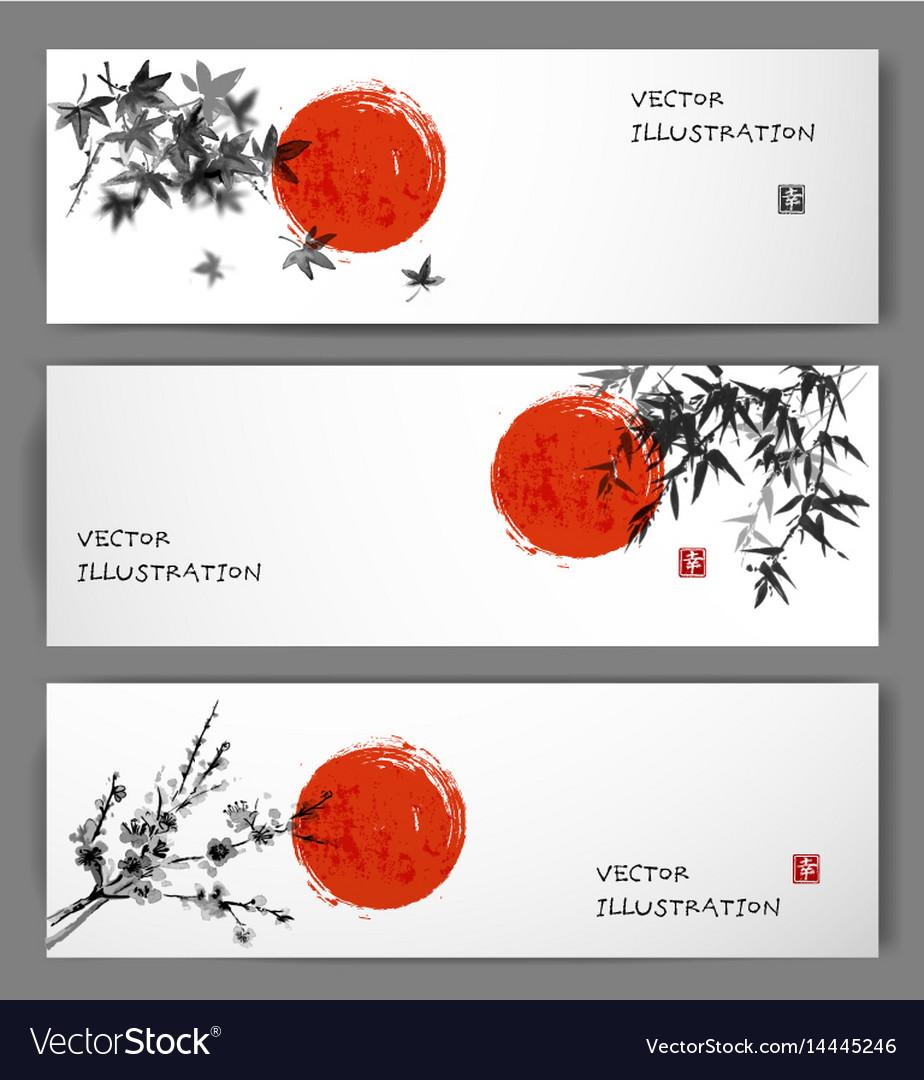 Three banners with sun maple bamboo and sakura