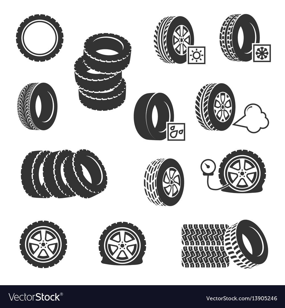 Tire shop tyres change auto service icons