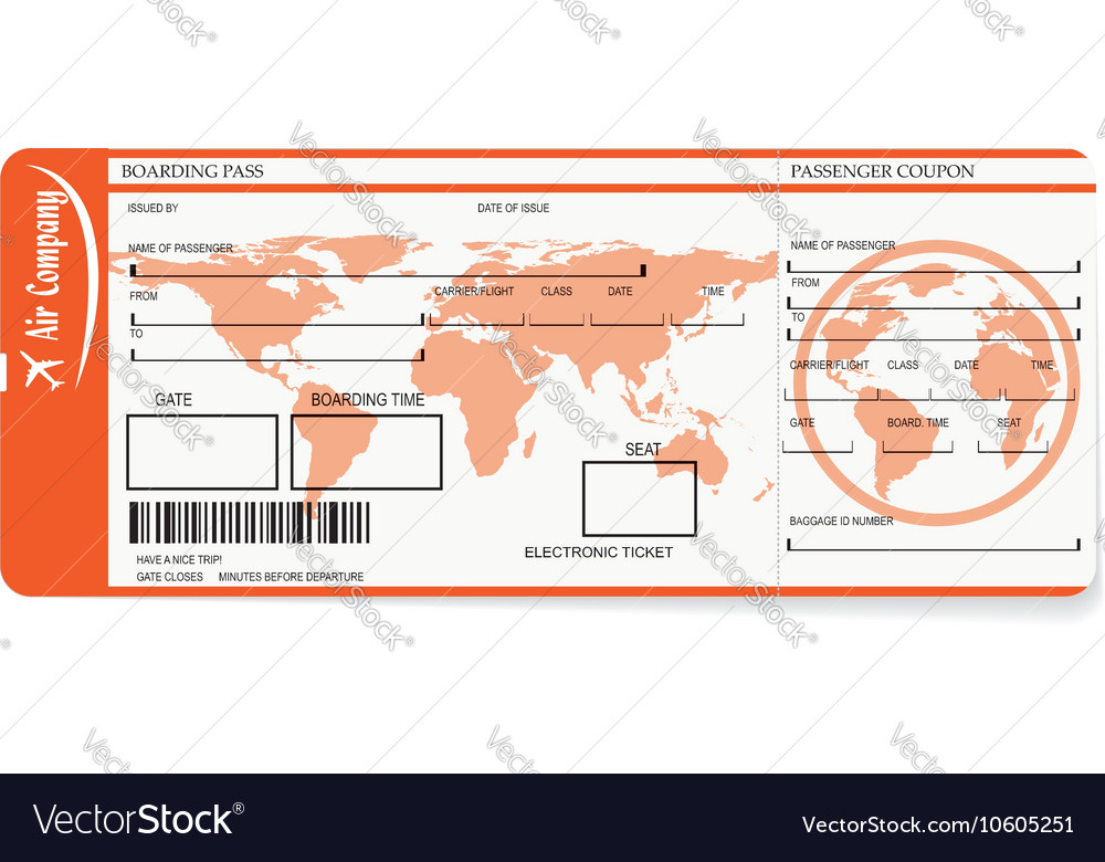 Airline Boarding Pass Tickets With Barcode Vector Image