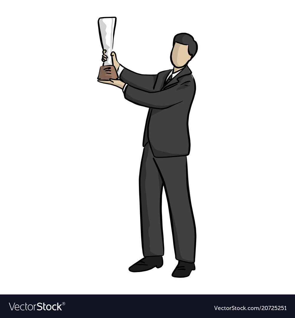 Business man raising his trophy with two hands