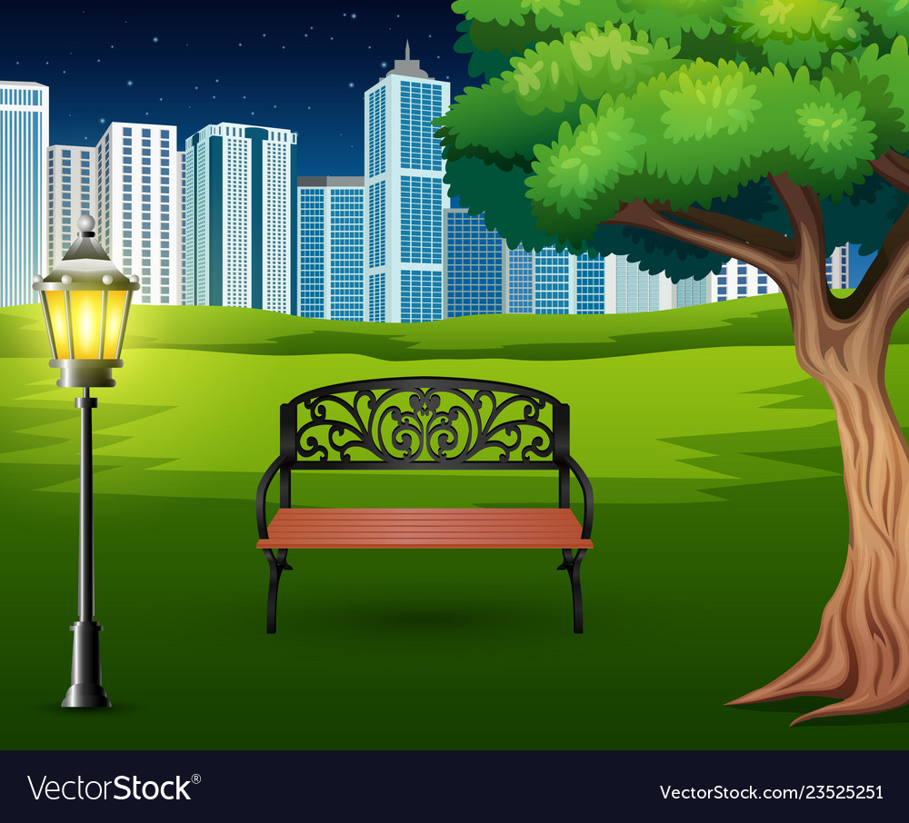 Cartoon Of Chairs In Green Park With Town Building