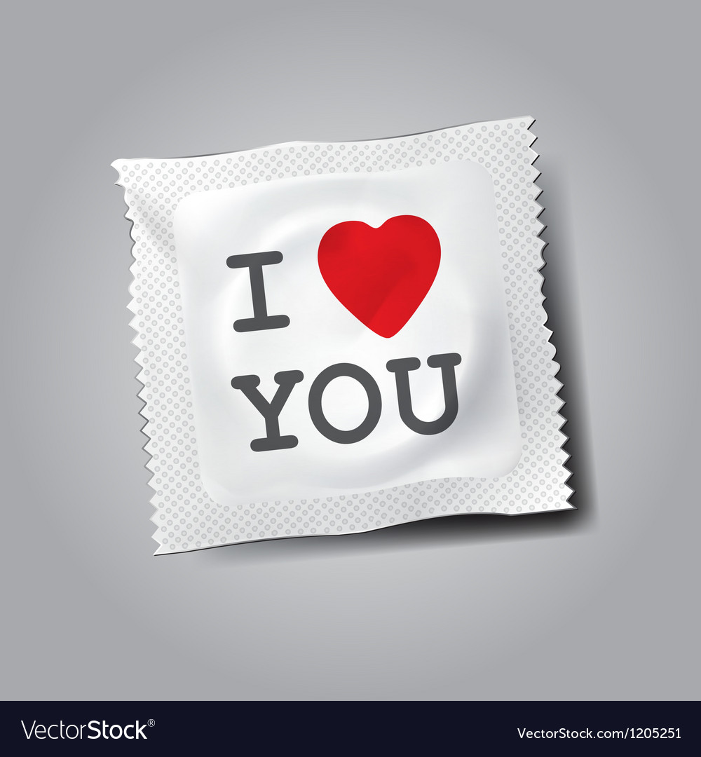 Condom with text I love you vector image