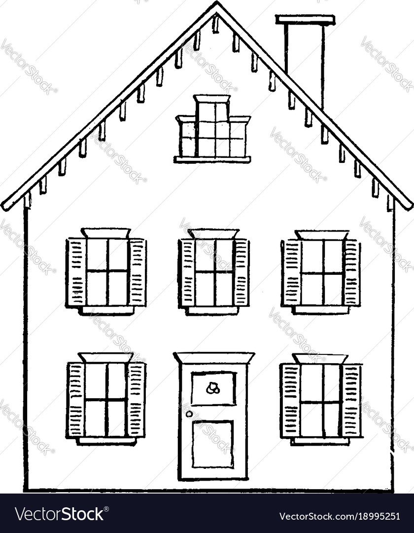 Drawing a house 2 using two point perspective vector image