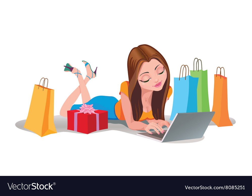 Happy woman shopping online internet shopping