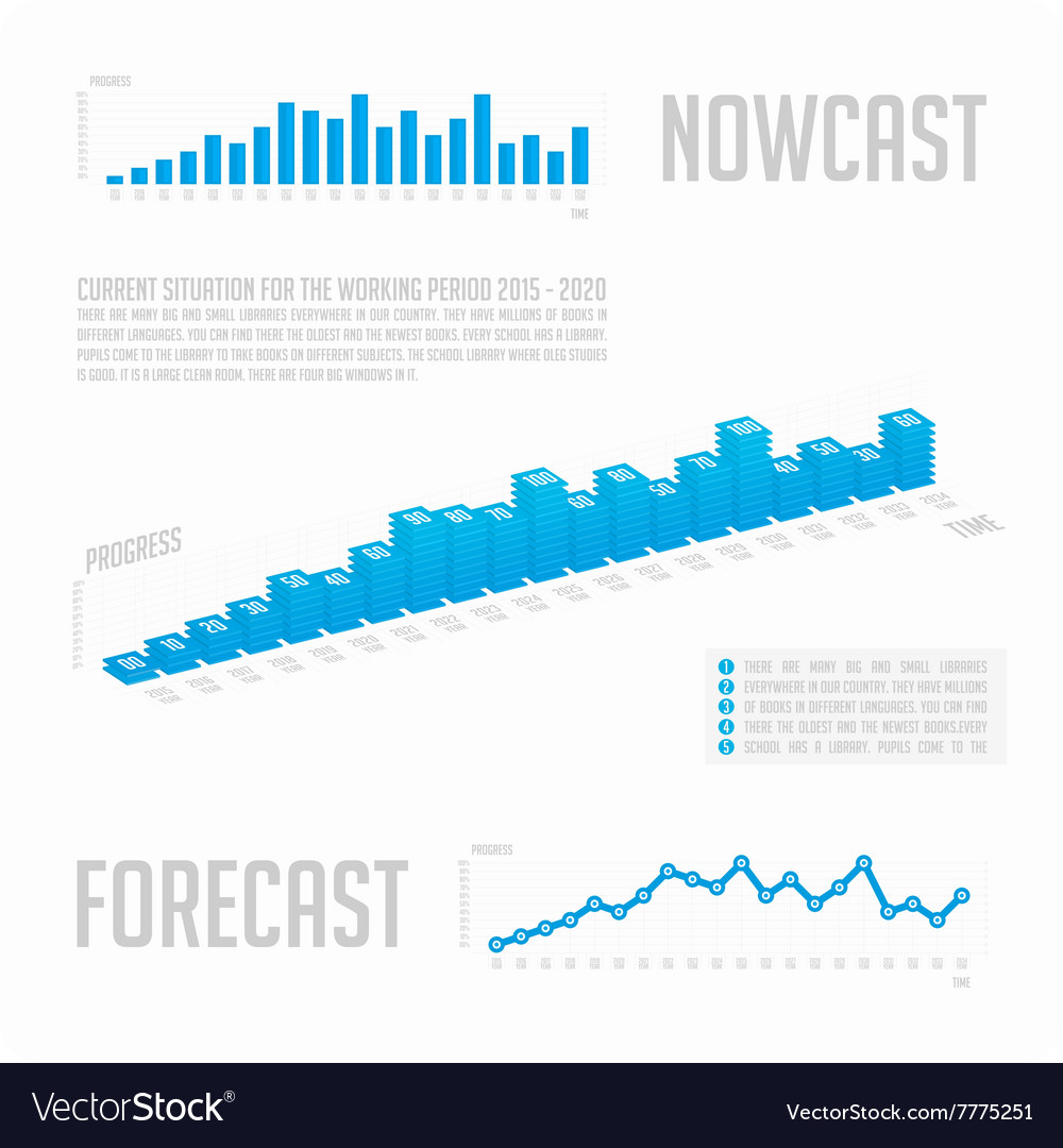 Infographics blue graph with text