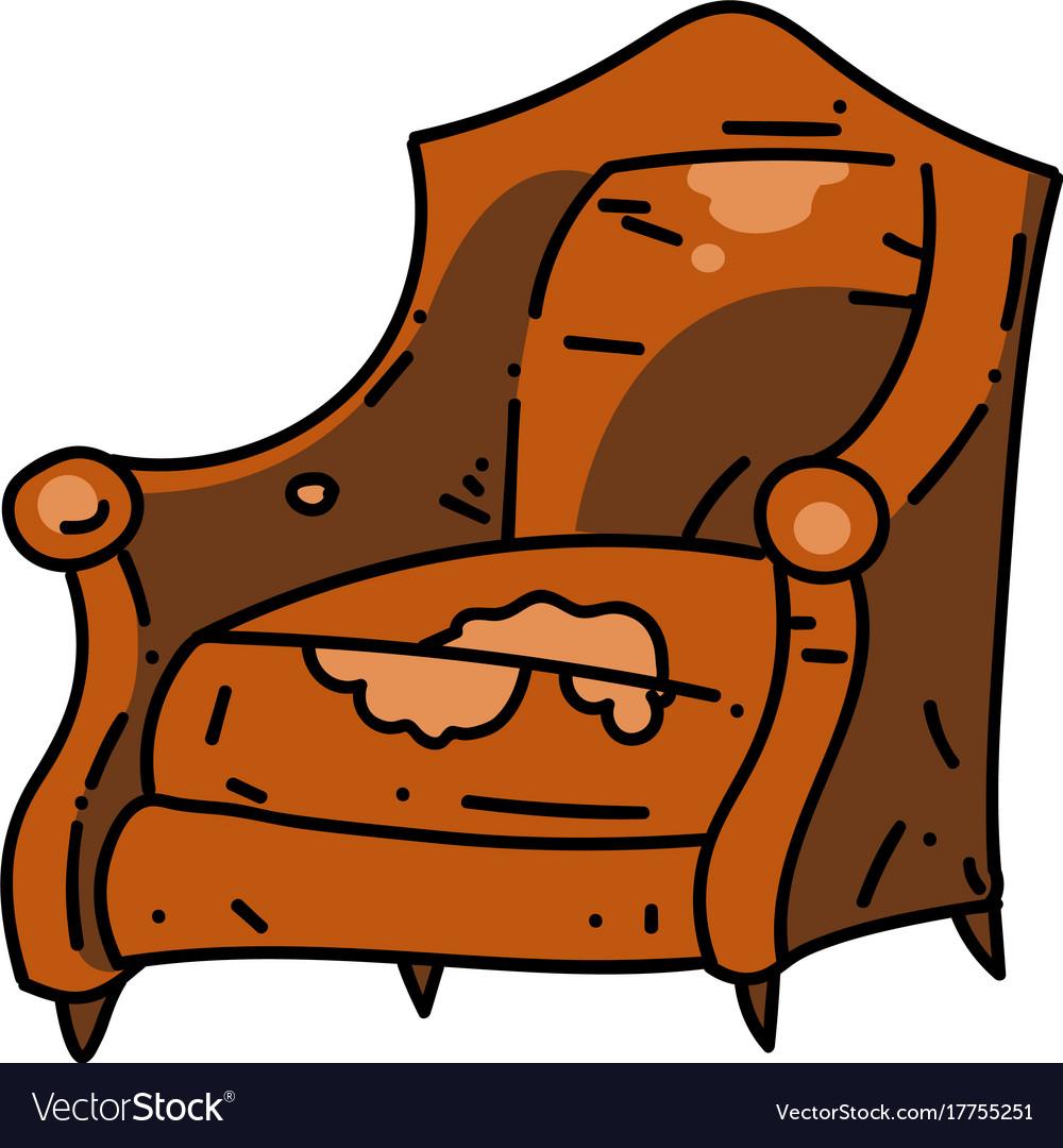 Old school chair cartoon hand drawn image Vector Image