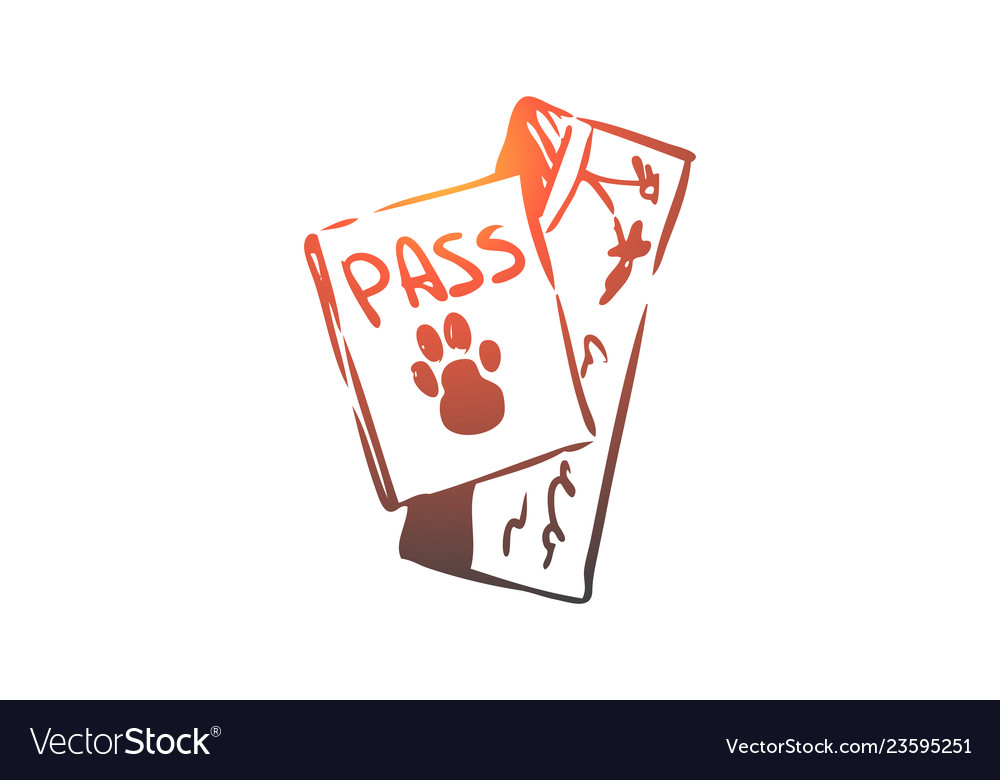 Pet passport animal travel document concept
