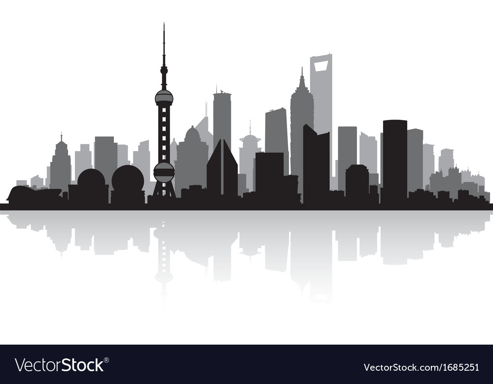 Shanghai China city skyline silhouette