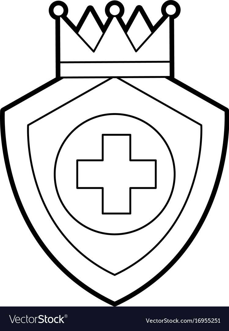 Shield Guard With Crown And Cross Royalty Free Vector Image