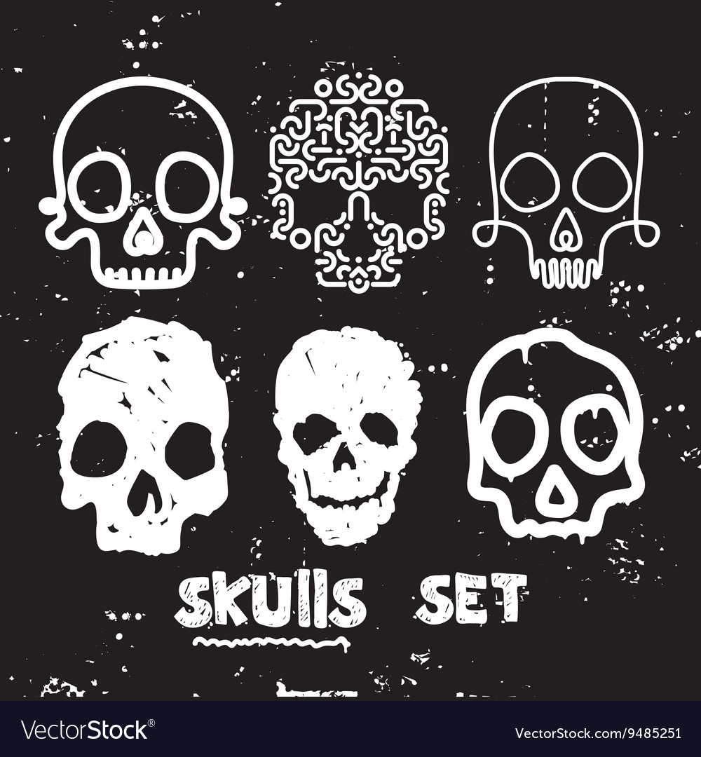 Skull set design element vector image