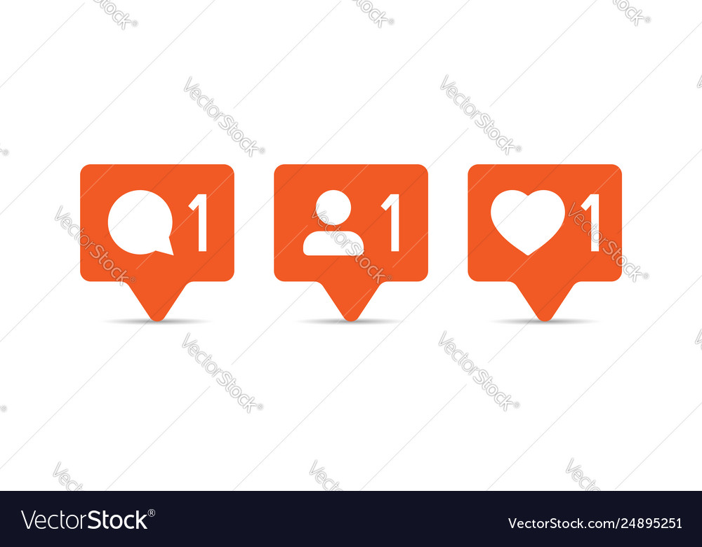 Social media notification sign icon in flat style