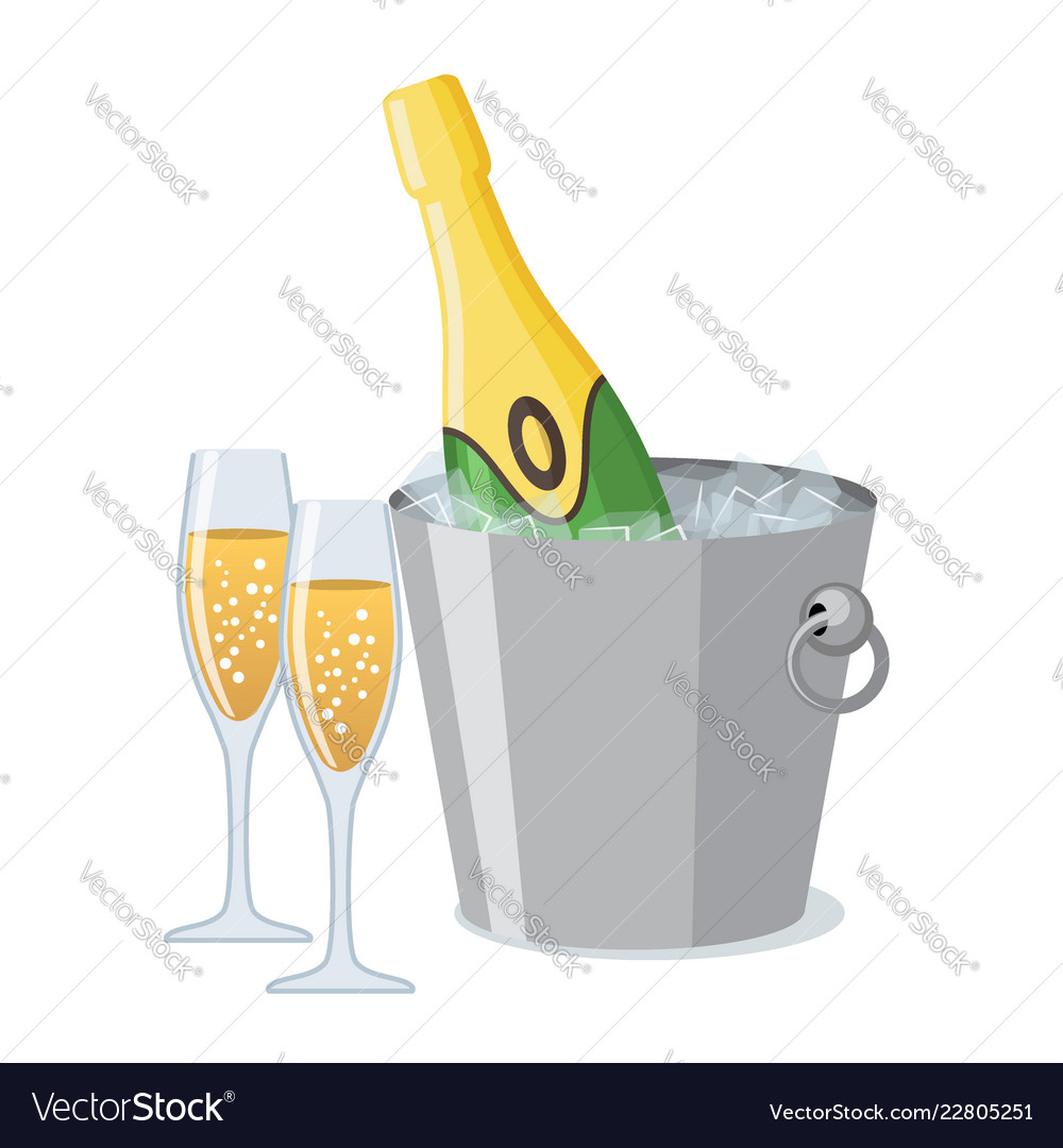 Two champagne glass and bottle of champagne in ice
