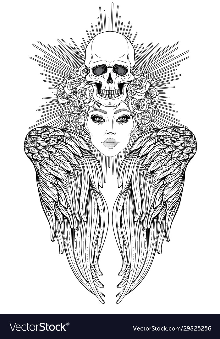 Angel girl with wings and halo isolated hand