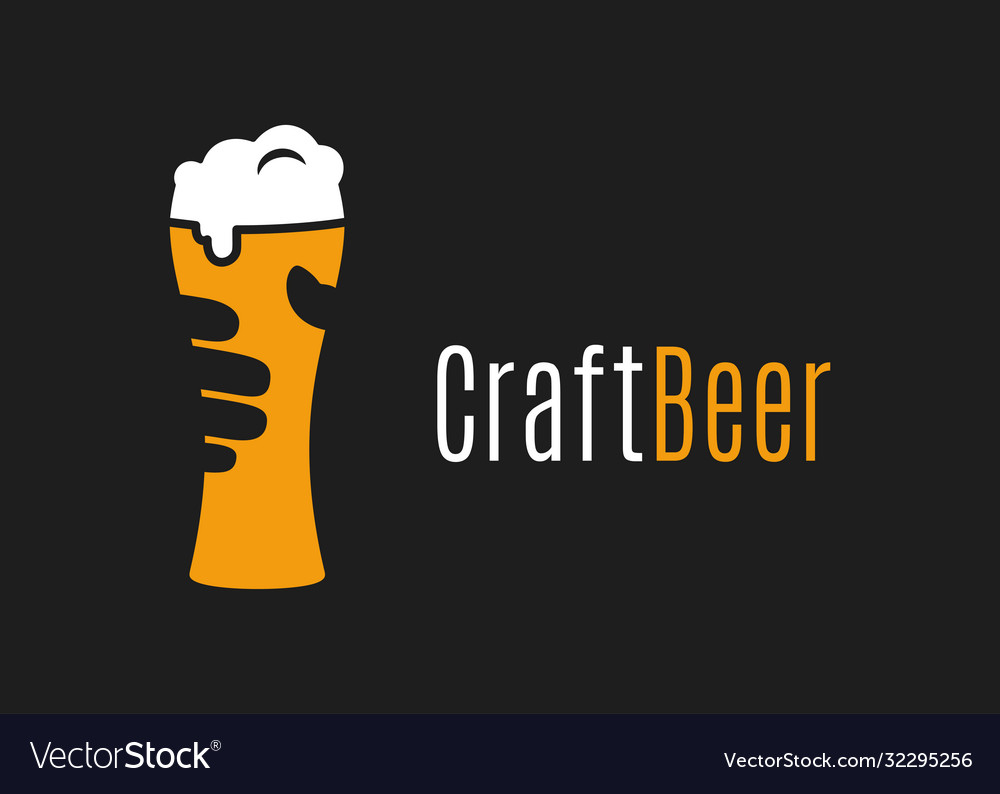Beer glass logo hand hold craft beer