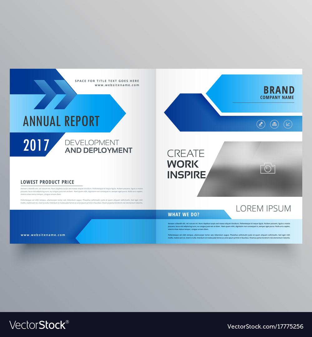 Blue bi fold business brochure template design vector image cheaphphosting Choice Image