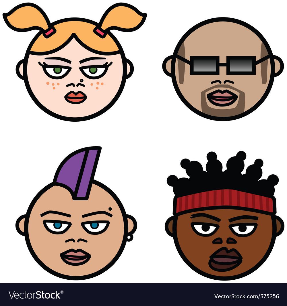 cartoon heads royalty free vector image vectorstock