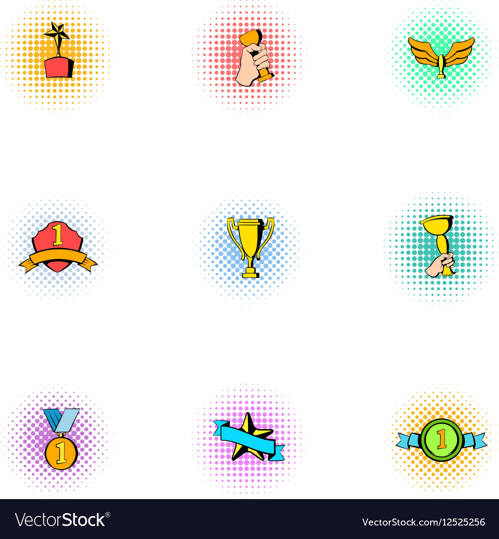 Championship icons set pop-art style vector image