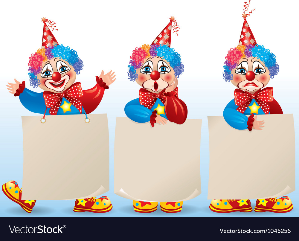 Clown with blank paper in different moods