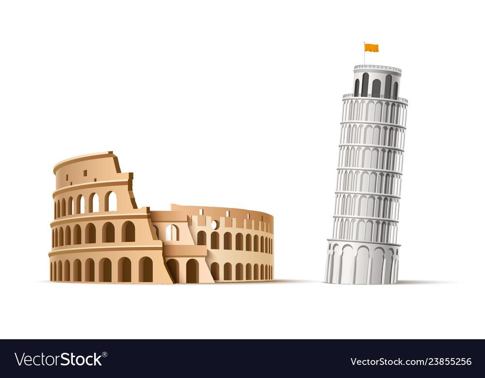 Famous italian landmark pisa tower coliseum