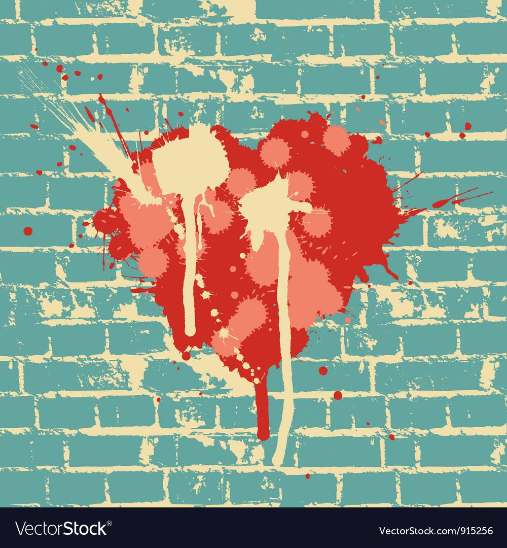 Heart symbol on brick wall vector image