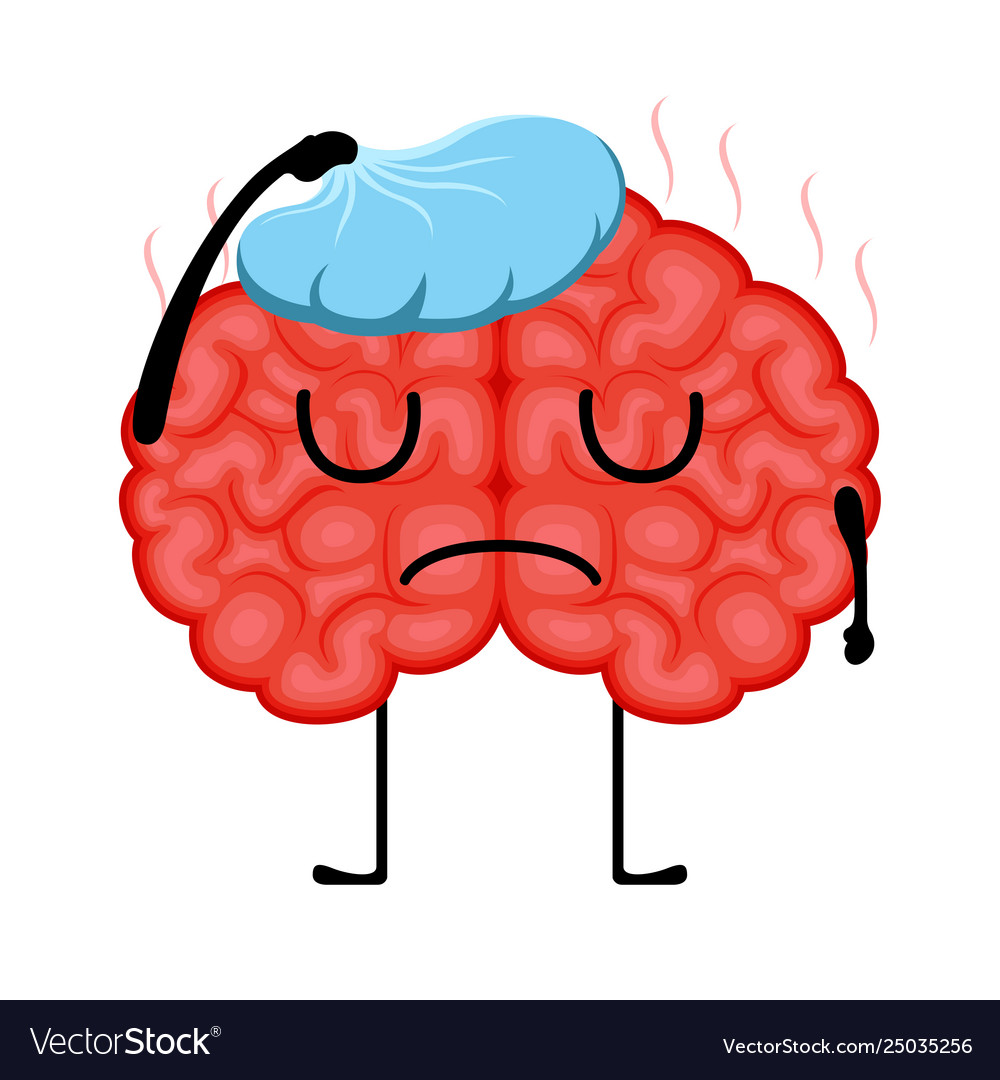 Isolated Sick Brain Cartoon Royalty Free Vector Image