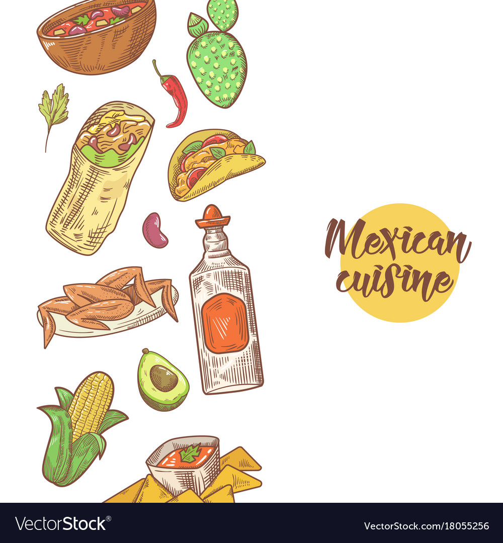 Mexican food hand drawn doodle