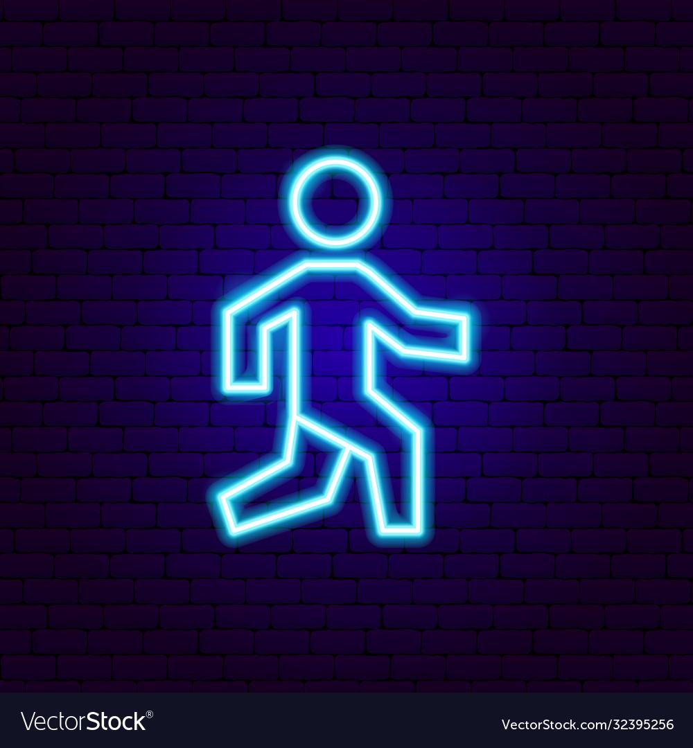 Pedestrian neon sign