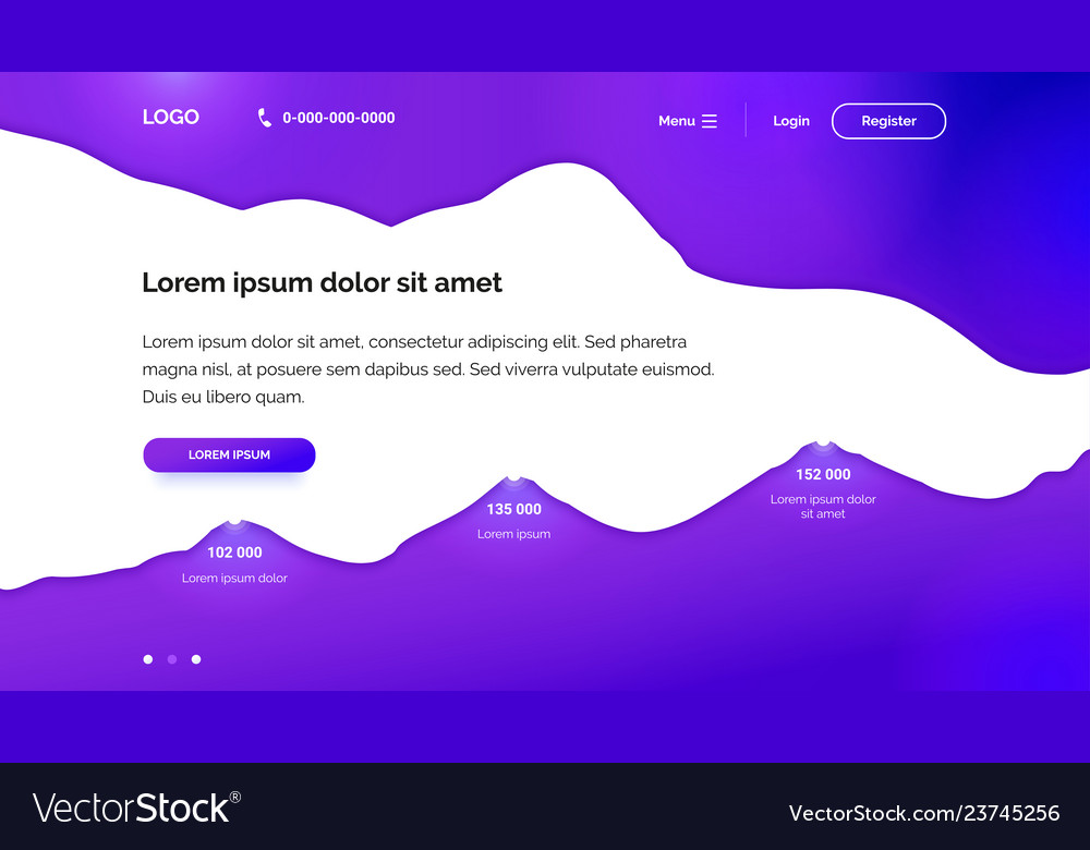 Purple wavy background for landing page template