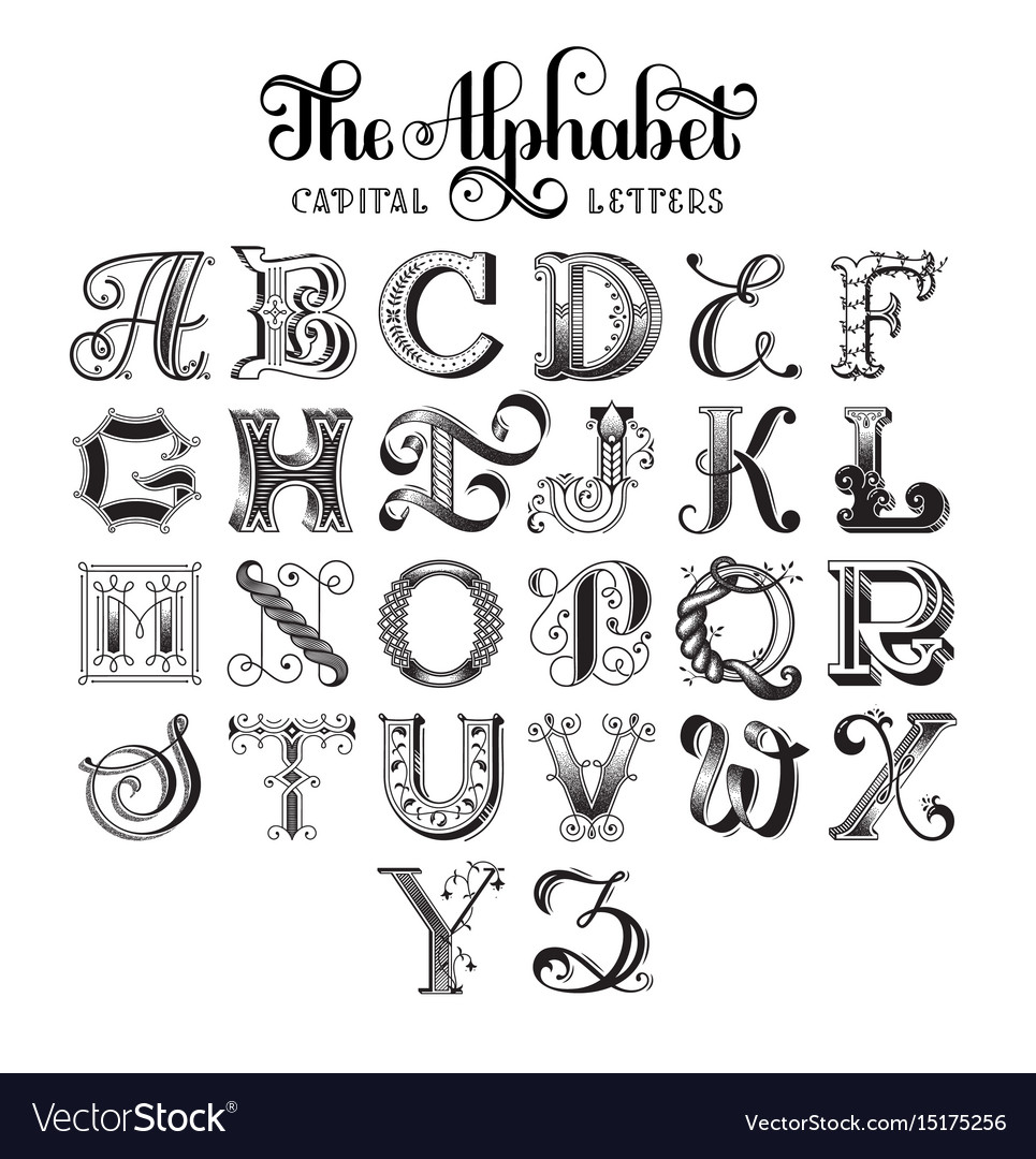 retro decorative font royalty free vector image