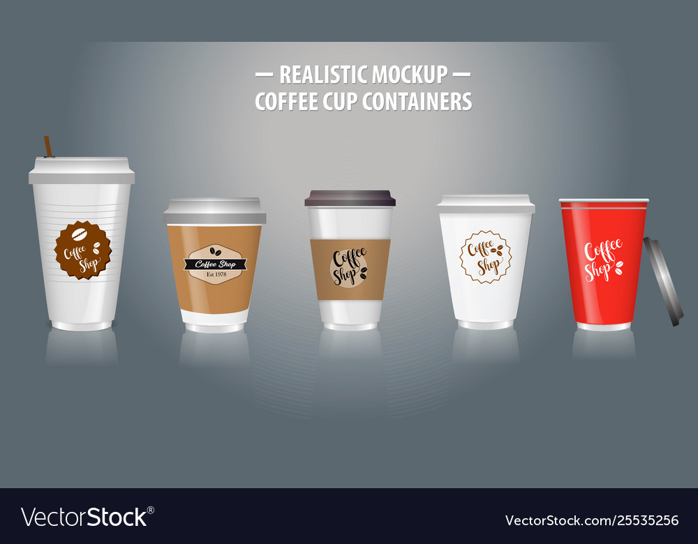 Set mock up realistic coffee cup containers