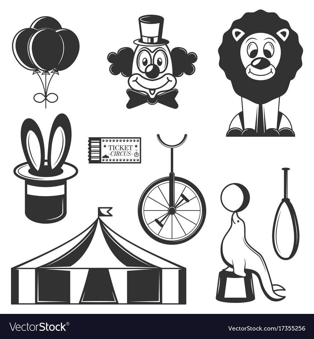 Set of circus isolated icons black and