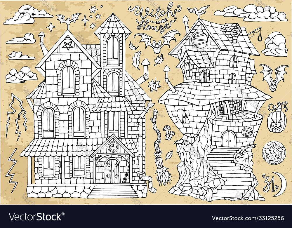 Set scary halloween traditional houses