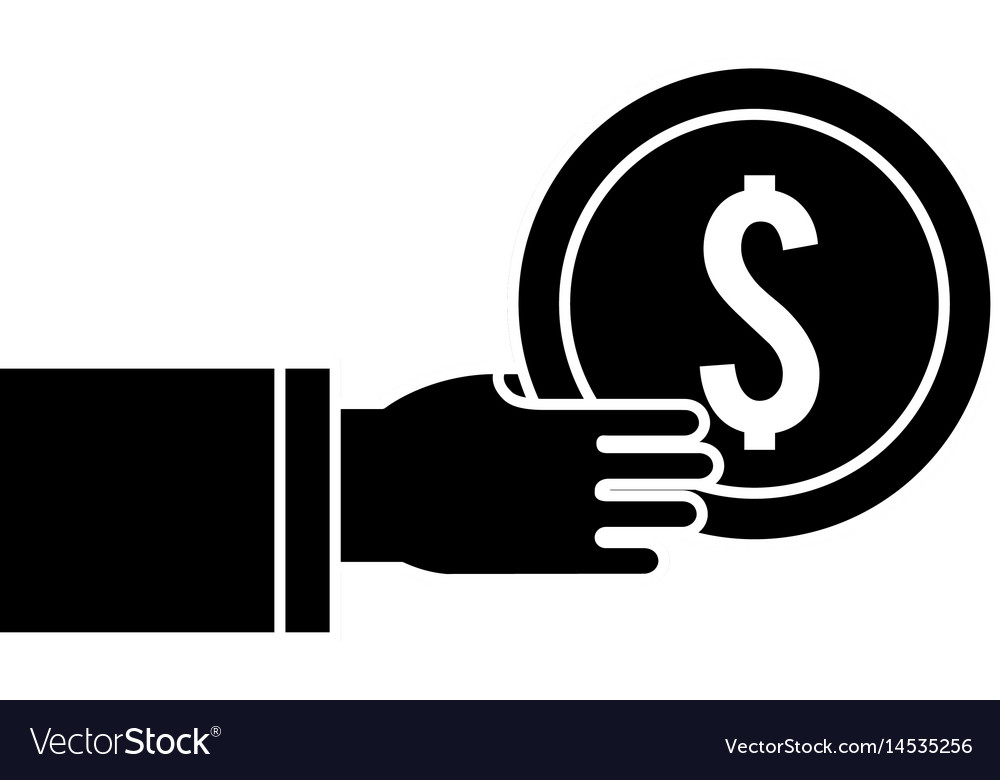 Silhouette coins money in the hand vector image
