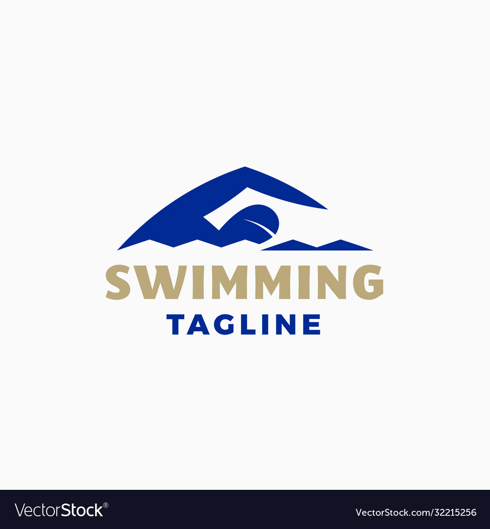Swimming abstract modern sign emblem icon